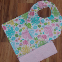 Pink/Blue Baby Burp Cloth & Baby Bib Set