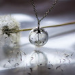 SIlver Dandelion Necklace Make A Wish Glass Bead Orb Dandelion Seed Transparent Round Beadwork Flower Botanical