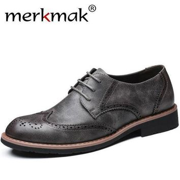 ONETOW merkmak Men Dress shoes formal wedding genuine leather shoes retro brogue business Mens flats oxfords for men