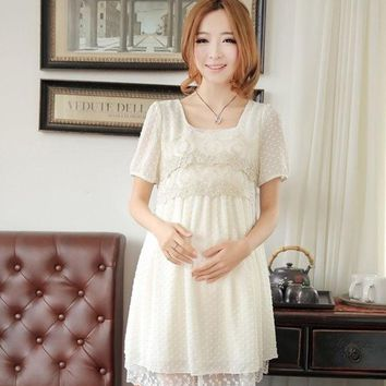 CREYUG3 Summer New Fashion Korean  Women Dress Loose Lace Chiffon Maternity  Dress 3 colors = 1946572036