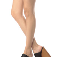 Black Faux Leather Slip In Wooden Wedges