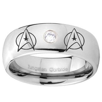 8mm Star Trek Dome Brushed Tungsten Carbide CZ Mens Ring Engraved