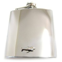 6 Oz. Stainless Steel Flask with Shark Pendant [Jewelry]