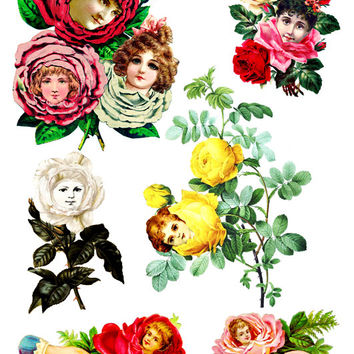 Victorian  flower rose children fantasy clip art collage sheet  digital download printable art scrapbooking crafts flower images