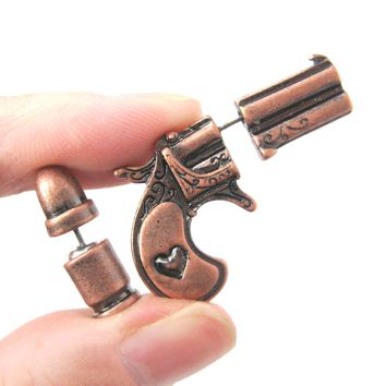 Fake Gauge Earrings: Gun Pistol and Bullet Shaped Faux Plug Stud Earrings in Copper