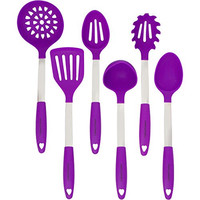 Culinary Couture Stainless Steel & Silicone Kitchen Utensil Set - Heat Resistant Professional Cooking Tools - Spatula , Mixing & Slotted Spoon , Ladle , Pasta Server , Drainer - Bonus Ebook! (Purple)