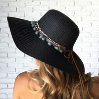 Ball & Chain Summer Hat In Black