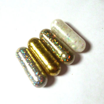 Glitter Pills, Glitter Pill,  Gold, Irridescent White, Silver, 4 Pills, New Years Party Favor, Unique Gift, Funny Gift, Gag, Party Favor