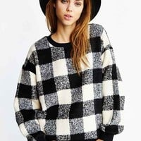 JOA Voluminous Plaid Pullover Sweatshirt- Black Multi