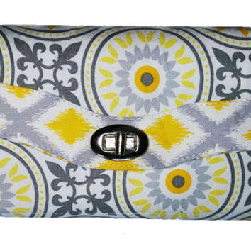 NCW, necessary clutch wallet, womens wallet, clutch purse, custom wedding bridesmaid gift, yellow and grey, mothers day, gifts for her