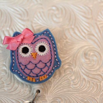adorable owl - professional  badge holder - retractable - badge reel - name badge holder - felt badge reel - nurse badge - ID holder - nurse