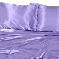 Elite Home Products Collection Silky Luxurious Woven Satin 4-Piece Sheet, Queen, Lilac:Amazon:Home & Kitchen