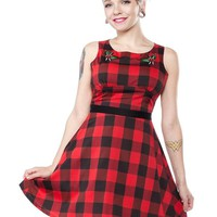 "Women's ""Flower Buffalo Plaid"" Dress by Sourpuss (Red)"