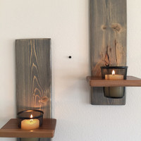 Candle Sconces / Wall Mount Candle Holder / Mystery Grey & Brown / Solid Wood / Candle Holders