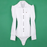 Women's Elegant Long sleeve Cotton OL Bodysuit Shirt Blouse Button Design 3 Colors 4 Size AP = 1958286980