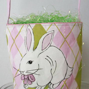 Easter Basket, Personalized, hand painted, pink, bunny, lime, pink, white, argyle
