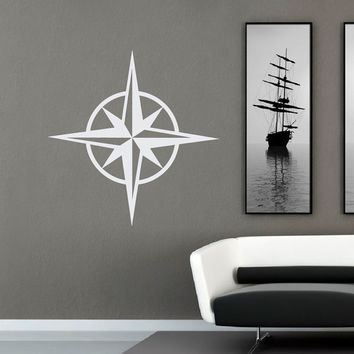 Compass Rose Wall Decal Nautical Stickers- Ocean Wall Decal Nautical Decor Living Room Bedroom Nursery Compass Wall Art Nautical Gift C084