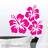 Vinyl Wall Decal Hawaiian Tropical Hibiscus Flowers, Set of 3, DIY Home Decor