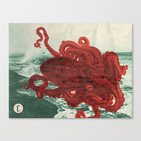Octopus Beach Stretched Canvas by Chase Kunz
