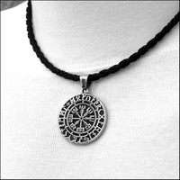 Viking Inspired Magical Mystical Compass Protection Pendant in Solid Stainless Steel on Viking Braid Leather Necklace