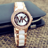 White MK Fashion Classic Watch Round Ladies Women