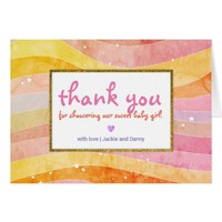 Colorful Stripes Gold Border Thank You Card