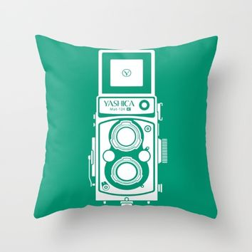 Yashica Mat 124G Camera Emerald Throw Pillow by Yashica Lovers