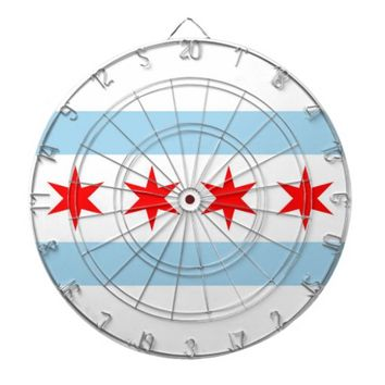 Dartboard with Flag of Chicago, Illinois, USA
