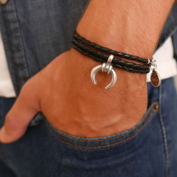 Men's Bracelet - Men's Leather Bracelet - Men's Jewelry - Men's Gift - Boyfriend Gift - Husband Gift - Present For Men - Gift For Dad - Male