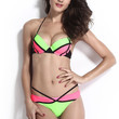 Pink and Neon Green Push Up Color Block Bikini
