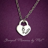 Ballet Dancer - Hand Stamped Stainless Steel Heart Lock Personalized with Name - Little Girl, Mom Necklace - Dance Jewelry - Recital Gift