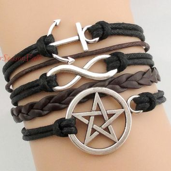 Custom-Anchor Infinity supernatural pentagram five-pointed star Bracelet Cord Multicolor Braided Leather Bangle-Drop Shipping