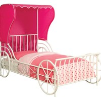 Charm collection white finish metal frame carriage style with pink fabric wing back tent canopy Full bed frame