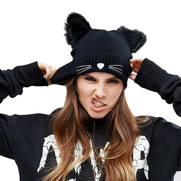 Women Winter Hat Harajuku Woolen Beanie Devil Horns Cat Ear Crochet Braided Knitted Fur Cap Noverlty Gir Snow Hat Bonnet Black