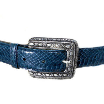 S A L E 1980s Navy Blue Snakeskin Belt / Waist Cinch / Reptile / Silver Buckle / Deadstock NOS / Vintage Accessories / Size Small