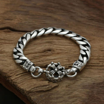 Braided bare crown head 100% Real 925 sterling silver friendship bracelet bangle men loom bands silver 925 jewelry fashion GB50
