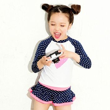 DCCKF4S New Hot Girls Long sleeve Anti UV Swimsuit Two-pieces High Quality Kids Swimwear Bathing Suit Infantil Children Beachwear