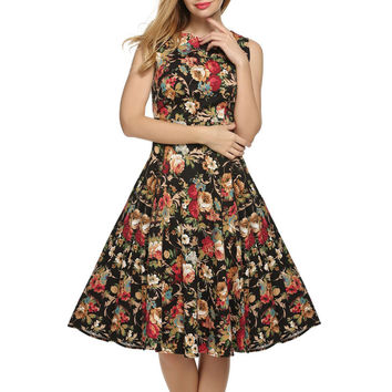 Womens Classic Floral Printed Tight-Fitting Dress
