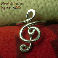 The Original Elegant TREBLE CLEF RING for You Who Like Music -Custom Made -For Musicians and Music Lovers - Delivered in Cute Lilac Ring Box