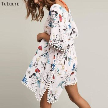 New Arrivals Tassels Beach Caftan Swimsuit Cover Up Print Chiffon Pareo Women Robe Plage Swimwear Dress Sexy Sarong Beach Tunic
