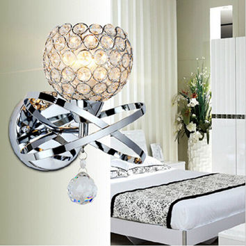 Ball Round Globe Crystal Wall Light Living Corridor Silver Golden Stair Crystal Wall Sconce Bedroom Bedside Crystal Wall Lamp