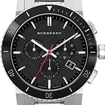 Burberry Black Dial Chronograph Stainless Steel Mens Watch BU9380