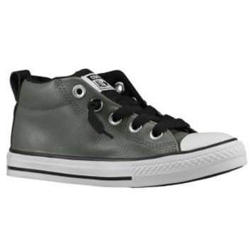 converse navy leather street mid trainers