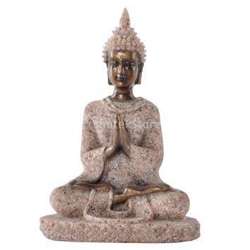 MagiDeal The Hue Sandstone Meditation Buddha Statue Sculpture Hand Carved Figurine Sandstone Buddha Home Decoration #3