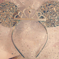 Disney Veil Minnie Mouse Ears with tiara and veil bridal bachelorette party bride to be happy ever after veil