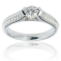 AMAZING 2.10CT WHITE ROUND CUT 925 STERLING SILVER ENGAGEMENT RING FOR HER