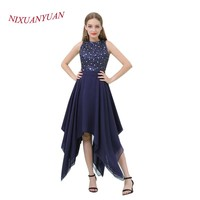 NIXUANYUAN 2018 New O Neck Navy Blue Chiffon Short Prom Dress 2017 Elegant Beaded Party Dress A Line vestidos de baile With Belt