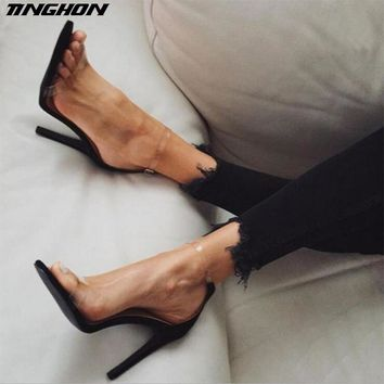 TINGHON Hot Sale PVC Women Platform Sandals 11.5CM Super High He. High heels 47253ab0dd