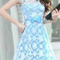 Blue Floral Pattern Cut Out Organza Dress with Rhinestone
