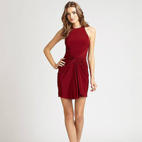 Red Wine Halter Ruched Keyhole Cutout Back Midi Dress